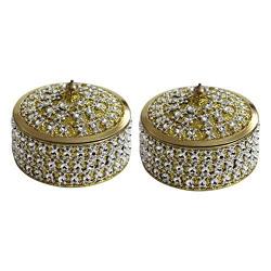 Angelic Brass Jewellery Box (7 cm x 7 cm x 5 cm, Golden, Set of 2)