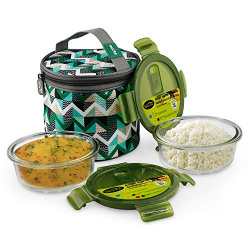 Home Puff Borosilicate Glass Lunch Box -Microwavable, AirVent Lid, Carry Bag (Round 400 ML, Set of 2)