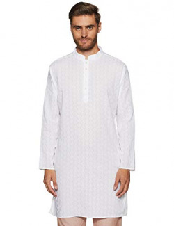 Max Men's Cotton Kurta (TAFE18KU02B_ White_ Large)