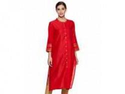Indigo Women's synthetic straight Kurta (SS20/IND-1493_ Red_ Large) Rs. 299 - Amazon