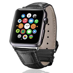 Hamee Genuine Leather Replacement Band Strap for Apple Watch 44mm Series 4 - Black