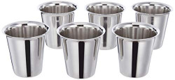 Amazon Brand - Solimo Classico Stainless Steel Glass Set (6 pieces, 7.5cm dia, South Indian Design)