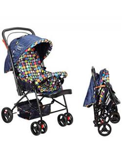 Mee Mee Baby Stroller Pram   3 Position Seating   Reversible Handle   Fully Rotating Wheels   for Newborn Baby/Kids, 0-4 Years (Navy Blue)