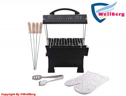 Wellberg Electic and Non Electric Charcoal Barbeque (Black, Iron)