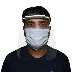 ORILEY ORFSN07 175 Micron Disposable Face Shield with Adjustable Elastic Strap Anti-Splash Single Use Protective Facial Cover Transparent Full Face Visor with Eye & Head Protection (1 PC)