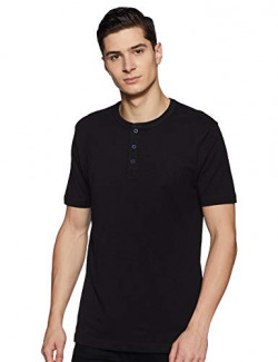 Amazon Brand - Inkast Denim Co. Men's Solid Slim Fit Half Sleeve T-Shirt (AZ-TS-03B_Black_Large)