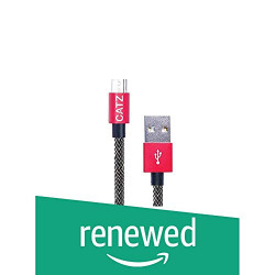 (Renewed) CATZ Reversible Micro USB Rugged cable Silver 1M