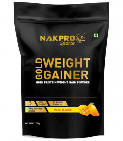 Nakpro Sports Gold Weight Gainer Protein Powder Supplement with Digestive Enzymes and Vitamin & Minerals - Mango (300G - 3 Servings)