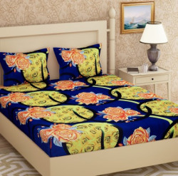 Metro Living 144 TC Microfiber Double Floral Bedsheet(Pack of 1, Yellow)