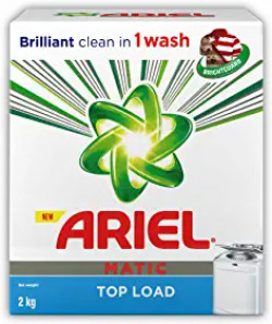 Ariel Matic Top Load Detergent Washing Powder - 2 kg 4.5 out of 5 stars  2,734 ₹357 ₹357(₹178.50/kg) ₹525 ₹525Save ₹168 (32%) 10% off with SBI Credit Cards 10% off with SBI Credit Cards  Get it by Friday, Jun 12