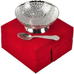 HHI German Silver Bowl & Spoon Set of 2   Silver