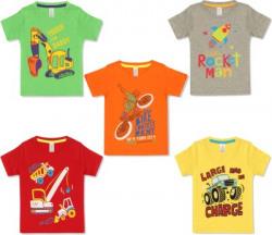 Ap'pulse Boys Graphic Print Cotton Blend T Shirt(Multicolor, Pack of 5)
