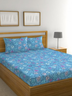 Raymond Home 136 TC Microfiber Double Abstract Bedsheet(Pack of 1, Blue)