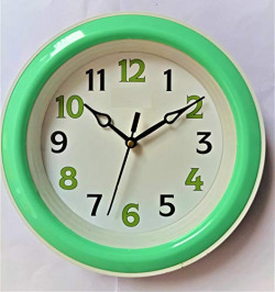 Mishty Plastic Designer Analog Wall Clock (Green_1.3 Inch X 8 Inch X 8 Inch)