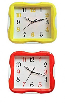 Mishty 23cm x 23cm Analog Wall Clock for Home for Living Room Decorative Wall Clock (Blue Disco) (Red+Yellow)