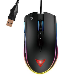 GAMDIAS Optical Gaming Mouse with Double RGB Streaming Light, Hera Software Supported, 8 Programmable Keys, Adjustable 1200 up to 7000 DPI, Weight Tunning System (Zeus M1)