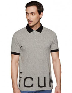 French Connection Men's Printed Slim fit Polo (513YV_Grey Melange XL)
