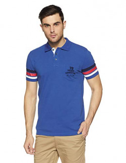 French Connection Men's StripedSlim Fit Polo (512BK-BRIGHT Blue_Bright Blue_S)