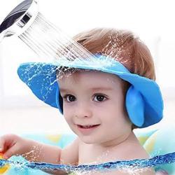 HEMJEX New Adjustable Safe Soft Bathing Baby Shower Cap Wash Hair for Children Shampoo Free Eyes Baby Eye Ear Protector Adjustable Leaves Shape Bathing Shower Cap Baby Shower Cap, Multicolor 72% off