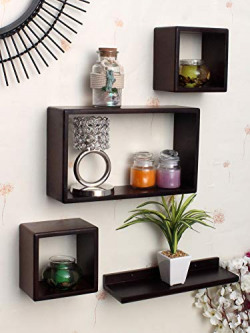 Home Sparkle Floating Wall Shelfs | Wooden Wall Shelves for Living Room | Bedroom | Home Decor - Set of 4 (Brown)