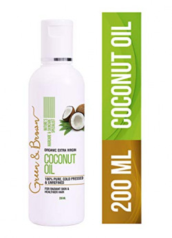 Green & Brown Extra Virgin Organic Coconut Oil for Hair and Skin, White, 200 ml