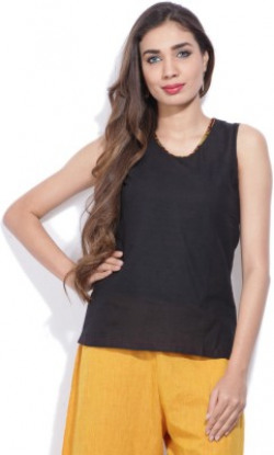 Mother Earth Casual No Sleeve Solid Women Black Top