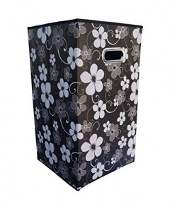 Pindia Mix Material with Hard Board Inside Foldable Storage Organiser, Black