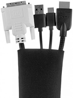 (Renewed) AmazonBasics Wire Cable Management Sleeve Cover Organizer - Zipper, 50.8 cm, Black, 4-Pack