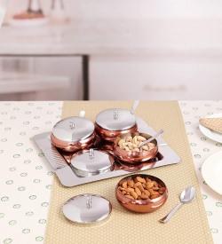 Roxx Imperial Steel Snack Set, 9-Piece, Copper & Silver