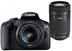 Canon EOS 1500D (EF S18-55mm/55-250mm IS II Lens) DSLR Camera with 16GB Card and Carry Case (Black)