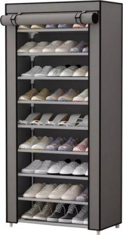 Sasimo 1-Door 9-Shelf Fabric Metal Collapsible Shoe Stand(Grey, 9 Shelves)