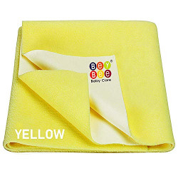 Bey Bee Quick Dry Baby Bed Protector Waterproof Sheet (Large, Yellow)
