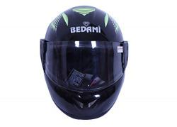 Bedami DJ-0001 Wiz Reflective Full Face Helmet (Large 560 MM, Green with Plain Visor)