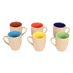 Saavre® Royal Series Hand Made Ceramic Coffee Mugs, 250ML. (Golden, 6)