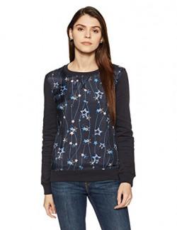 Tommy Hilfiger Women's Cotton Sweatshirt (A6AWH012S_Navy Blazer and Charis Star PRT Navy Blazer)