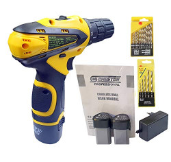 Cheston 10 mm Keyless Chuck 12V Cordless Drill/Screwdriver with 2 Batteries, 5 Wall, 13 HSS Wood bits Variable Dual Speed and Torque Setting (19 and 1, Yellow)