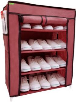 Flipzon Iron and Fabric Multi-Purpose Shoe Rack, 4 Shelf, Maroon Metal Collapsible Shoe Stand(Maroon, 4 Shelves)