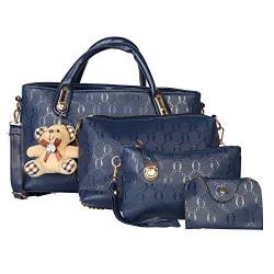 NFI essentials Women's PU 4 Pieces Handbag Shoulder Bag Tote Clutch Set (Blue)