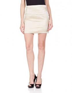 The Closet Label Women's Slim Skirt (ACCIS-100472_Gold_S)