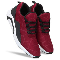 MAAS Men's Air Series Mesh Casual,Walking,Running/Gymwear Shoes/Out Door Shoes(Black/Grey/Blue/RED/Maroon) for Daily use and Easy Washable Best Shoes for Men/shuj(Maroon) - 9