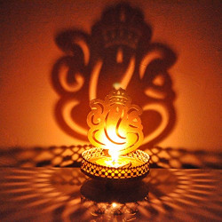 Hashcart Ganesh Shadow Metal Tealight Candle Holder for Home Living Room/Office