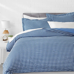 AmazonBasics Microfiber Checkered 3-Pieces Queen Gingham Plaid Quilt/Duvet/Comforter Cover Set with 2 Pillow Covers