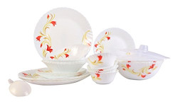 Larah By Borosil Red Lily Opalware Glass Dinner Set, 25-Pieces, White