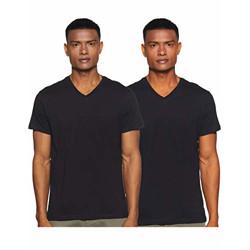 Amazon Brand - Symbol Men's Solid Regular T-Shirt (Pack of 2) (SS20SYMTEE35-A_Black M)