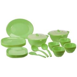 Signoraware Plastic Dinner Set, 32-Pieces, Green