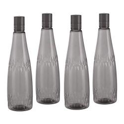 Steelo Calico Pet Water Bottle, 1 Litre, Set of 4, Grey
