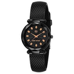 MONTVITTON Mesh Strap Women's/Girl's Wrist Watch with Designer Glass/Fancy Gift Embellished Dial Water Resistance Quartz