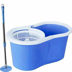 V-Mop Plastic Classic Magic Dry Bucket Mop 360 Degree Self Spin Wringing With Rod Set (Standard, Multicolor)