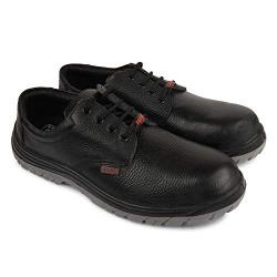 Aktion Safety Genuine Leather Shoes Safer-1208 Steel Toe - Size 10, Black