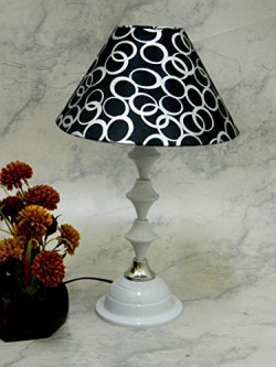 Classic White LAMP with BLK/Silver Shade